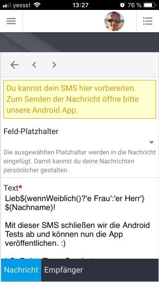 SMS wird im Browser vorbereitet